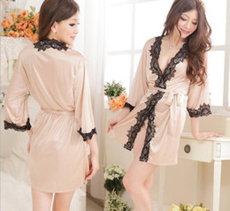 Wholesale Sexy Lingerie Set Kimono Dress G string Silk Lace Sleepwear Pyjamas Sexy Customs for Women Langerie Nightwear and Sex String Robe Underwear