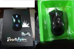 Razer DeathAdder OEM Versión mejorada del juego 3500dpi del ratón a estrenar del ratón del ordenador portátil del juego azul / verde la luz del ratón USB con cable con el paquete al por menor DHL