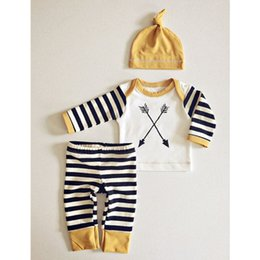 Wholesale ins hot selling european style clothes sets summer new arrivals infant baby cross arrow jumpers stripe pants outfits