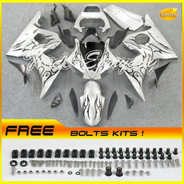 2017 fairing r6 silver black Injection Mold Fairing Kit Fits For YZF600 R6 2003-2005 YZF 600R6 03-05 Black Flame Silver 10V36