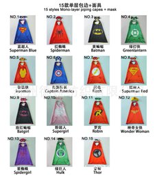 Wholesale 15 styles one layer CM Super hero Capes and mask set Superhero cosplay capes mask Halloween cape mask for Kids set
