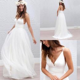 Wholesale Beach Wedding Dresses Boho Wedding Dresses New Bohemian V Neck Spaghetti Straps Tulle Backless Floor Length Bride Bridal Gowns BA2144
