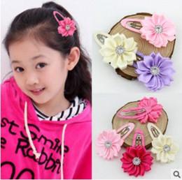 Wholesale 60PCS Colors Girl Flower Hair clip Rhinestone Mini Satin Flower Hair Clip Children Hairpins DIY Baby Girl Hair Accessories