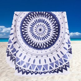 Верхнее качество 20 видов 100% хлопок круглым пляжное полотенце 150 * 150см / 59 * 59 '' банное полотенце кисточкой Декор Геометрическая Печатный Полотенца махровые Летний стиль