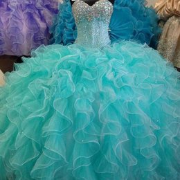 Wholesale 2016 de la chispa de la turquesa del corsé vestidos de quinceañera balón vestido de novia con moldeado barato del dulce Debutante los vestidos más el tamaño