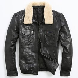 Discount Mens Leather Jacket Sheepskin Collar | 2017 Mens Leather