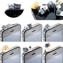 2017 cute anti dust cap 1set=6pcs Cute Cheese Cats 3.5mm Anti dust Dirt-resistant Earphone Jack Plug Adapter to Phone Stopper Cap for Iphone 5 5s 5c