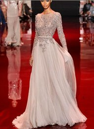 Wholesale Appliques Autumn gold evening dress beaded valentino elie saab sweep train sheer neck long sleeve backless new party pageant prom dress
