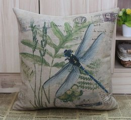 Free Shipping 18 French Retro Vintage Country Dragonfly Linen Cushion Cover Pillow Cases Pillow Cover Home Decor Pillow Sham