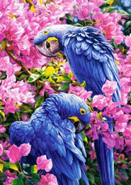 2017 Parrot Home Decor Full Diamond Embroidery Flowers In The Two Parrots Needlework Cross Stitch Diy
