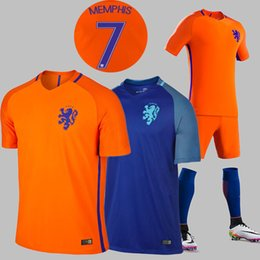 Wholesale New Netherlands soccer jersey ROBBEN Home Orange Away blue KLAASSEN SNEIJDER V PERSIE top quality Netherlands Football shirt