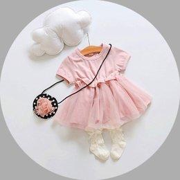 Wholesale short sleeve summer baby girls dress newborn baby princess tutu skirts kids boutiques korean children cute dresses baby s boutiques clothes