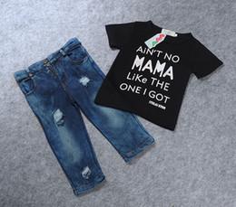 Wholesale Europe and the United States boy fashion black letters Lycra cotton T shirt hole denim pants suit Summer boys suit Kids Clothing Sets