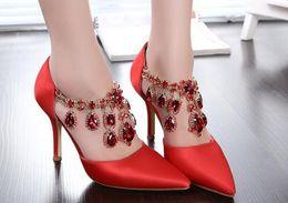 Wholesale 2016 New Fashion Women Ladies Wedding Shoes Rhinestone Pointed Toe High Heels Shoe Bridal Sandal Shoes Party Prom Wear