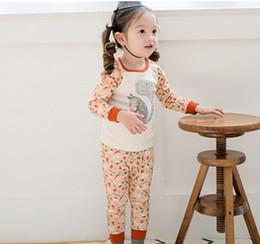 Wholesale Cartoon Korean Children Clothing Sets New Autumn Kids Outfits Girl Pajamas Set Squirrel Printed Long Sleeve Tops Long Pants