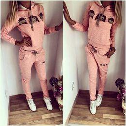 Wholesale 2016 Women Tracksuit Hoodies Sweats Sweatshirt Pants Sets Sport Wear Casual Suit