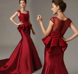 Wholesale 2016 New Square Red Satin Mermaid Evening Formal Dresses Ribbon Ruffles Tiers Peplum Lace Bridal Evening Prom Gowns Dubai Arabic Gossip Girl