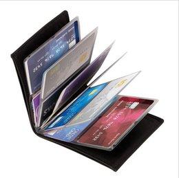 Pergunto Wallet surpreendente de couro slim RFID Carteiras Preto PU Moda cartão de crédito empresarial 24Cards Wallet Titular Com pacote de varejo