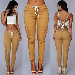 Wholesale Summer Casual Multi Pocket Pants High Waist Solid Lacing White Red Army Khaki Shiny Pencil Pants Capris Women Trousers hight quality free sh