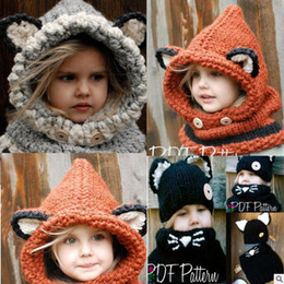 Discount winter baby windproof Lovely Fashion fox cat ear winter windproof hats and scarf set for kids crochet headgear soft warm hat baby winter beanies