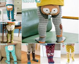 Brand roupas Cartoon Stripe Baby Leggings algodão elástico macio Meninas PP calças fox Penguin Lion Kids Meias 6931