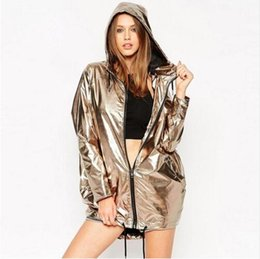 Wholesale New Fashion Gold Jackets Women Hooded Zipper Up Punk Rock European Dance Wear Casual Outerwear hiphop coats women cardigan clothing
