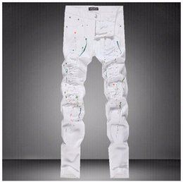 Discount Mens White Ripped Skinny Jeans  2017 Mens White Ripped