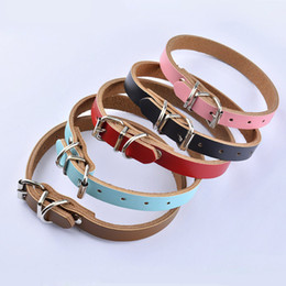 Discount wholesale leather collars Wholesale-Luxury Fashion Solid Cowskin Geninue Leather Plain RED BLACK BLUE PINK BROWN Color Pet Dog Collar Necklace