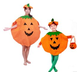 Wholesale 2016 Children costume Halloween Pumpkin for kids Costume Hat Suit Cosplay Theme Uniform Overalls Cap Party Clothing Props Drop Shipping