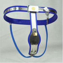 Wholesale M169 novo aço bondage fêmea lockable ajustável Y Type dispositivos de castidade cinto de cor azul brinquedos sexuais para as mulheres