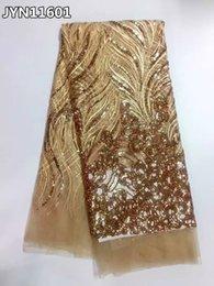 Tissu africain de dentelle de tulle de haute qualité tissu de dentelle de tissu de paillettes étincelantes françaises pour la robe de partie de mariage JYN116