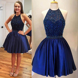 Wholesale Navy Blue Short Homecoming Dresses Halter Cheap Bead Sweet Ball Gown Beading Short Prom Dress Cocktail Party Gowns MZ BA2821 Cheap