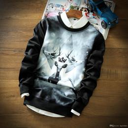 Wholesale Automne Hiver Hoodies Japonais Et Coréen De Style Top Quality Deer Imprimer Espace Cotton Baseball Jacket Sport Coat