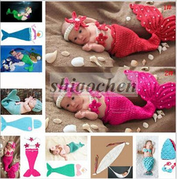 Wholesale Baby Shower Crochet Mermaid Swaddles Knit Costume Wraps Newborn Blankets Baby Photography Props Diamond Headband set Outfit A1161