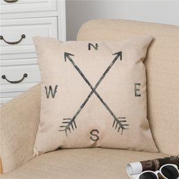 Retro Cotton Linen Place Vintage Throw Pillow Case Shell Coussin décoratif Couverture Taie Compass, 18