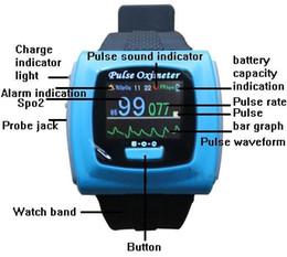 Wholesale CONTEC Brand CMS50F Sky Blue NEW Wrist wearable Spo2 Monitor Pulse Oximeter Blood Oxygen Monitor Pulse Rate Blood Oxygen Saturation