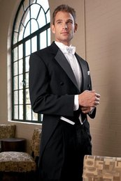 Wholesale Negro de buena calidad delgada de ajuste de baile dos botones de solapa brecha de la muesca solapa hombre formal Esposo novio Boda traje de negocios
