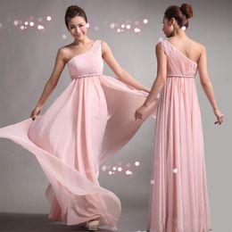 Wholesale Bridesmaids Dresses Sweet princess Greek Style Goddess One shoulder Bare Pink Party Dress pleats Discount Prom Dresses
