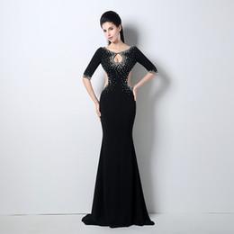 Wholesale Sexy preto elegantes senhoras smoking formal branco strass sereia vestido de noite mangas lados de corte vestido de festa vestidos de celebridade QW708