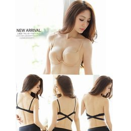 Wholesale Sexy Cross Halter Neck Women Push Up Bra One Piece Seamless Solid Underwear Invisible Deep U Plunge Bra Set sexy lingerie