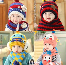 Wholesale 2016 New Brand Winter Baby Kids Children Warm Hat With Hooded Scarf Earflap Knit Wool Warmers Beanie Caps JF