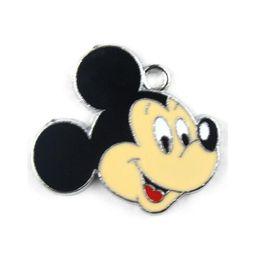 Venta al por mayor 50 PC Mickey Mouse clásico cabeza del metal de aleación de zinc esmalte encanta los colgantes para la joyería del arte de la muchacha que hace DIY