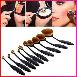 Wholesale 10pcs set sets Tooth Brush Shape Oval Makeup Brush Set Professional Foundation Powder make up brushes with retail box