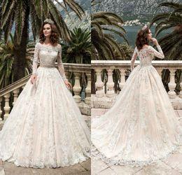 2017 vestidos de encaje vestidos de novia impresionante mangas Vestidos de Noiva Pricess balón vestido de boda vestido de novia por encargo de la vendimia