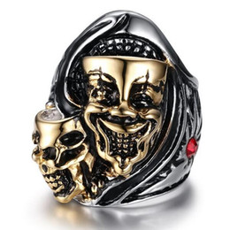 kito european and american punk style jewelry skull rings for men ring with cz diamond rhinestones diamonds ring skull wedding bands for men on sale - Skull Wedding Rings For Men