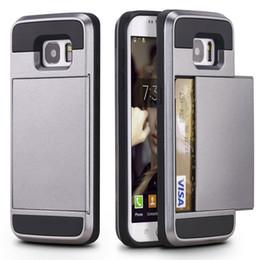 Samsung Galaxy A5 A7 J5 J7 Zırh Slide için Cüzdan Kılıfı Geniş Kredi Kartı Kılıfı Lüks İnce Hibrid Cüzdan