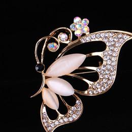 Wholesale Fashion Antique Gold Plated Opal Butterfly Brooch for Women Rhinestone Broche Fashion Bijouterie Wedding Dress Jewelry