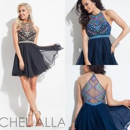 Wholesale Black Crystal Beaded Homecoming Dresses Colorful Rhinestones Illusion Short Mini Prom Dresses Sexy Navy Blue Cocktail Dresses Custom