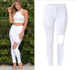 Discount White Ripped Jeans For Women | 2017 White Ripped Skinny ...
