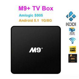XBMC completamente cargado Android OTT TV Caja Remota M9 más S905 Quad Core 64 bit Cajas de medios inteligentes KODI WIFI HDMI 2.0